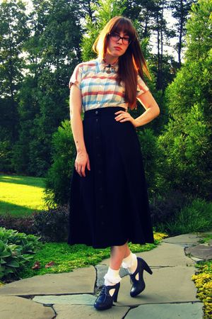 black thrifted vintage skirt - gray modcloth shoes - white Target socks - white