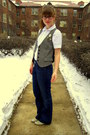 White-thrifted-shirt-blue-banana-republic-jeans-gray-thrifted-vest-gray-st
