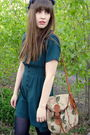 Green-thrifted-vintage-dress-brown-thrifted-vintage-shoes-brown-vintage-purs