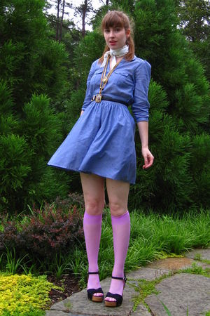 pink courtesy of We Love Colors socks - blue H&M dress - black thrifted belt - w