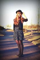 black vintage thrifted shoes - black H&M hat - black H&M shirt - navy thrifted s