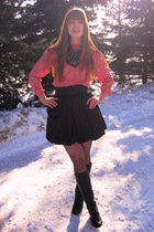 red thirfted shirt - black thrifted scarf - black Aqua skirt - black Express tig