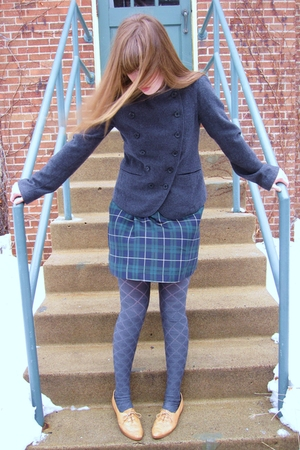 white kensie shirt - brown thrifted shoes - gray Target tights - blue Heritage 1