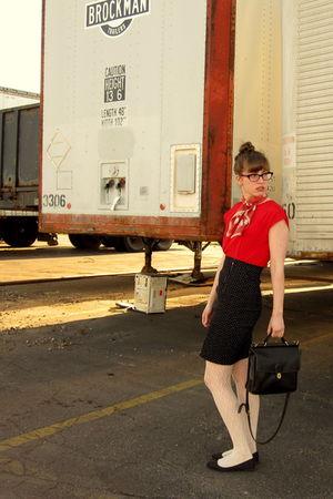black vintage skirt - white Forever 21 tights - red vintage blouse - black vinta