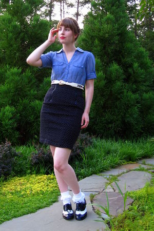 blue H&amp;M dress - black thrifted vintage skirt - white thrifted vintage belt - wh