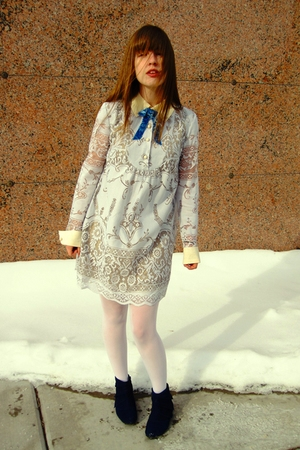 white thrifted Anna Sui for Target dress - white Target tights - blue Urban Outf