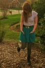 Black-steve-madden-boots-green-american-apparel-skirt-white-h-m-shirt-si