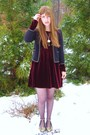 Red-thrifted-dress-gold-urban-outfitters-shoes-black-urban-outfitters-blazer