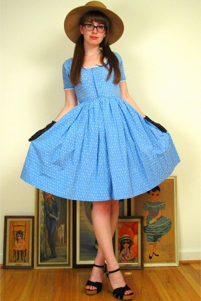beige vintage hat - black Nordstrom shoes - blue vintage dress