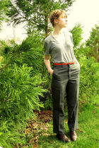 brown thrifted boots - gray thrifted vintage pants - orange thrifted belt - gray