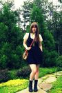 Black-urban-outfitters-dress-black-steve-madden-boots-beige-thrifted-vintage