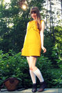 Gold-dear-creatures-dress-white-target-socks-brown-thrifted-shoes-brown-vi