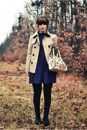 cream thrifted purse - black Steve Madden boots - deep purple Tulle dress