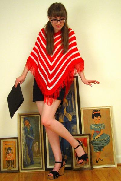 red vintage sweater - black Express shorts - black Nordstrom shoes - black vinta