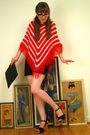 red vintage sweater - black Express shorts - black Nordstrom shoes - black vinta