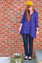 purple Aqua shirt - black Urban Outfitters shoes - blue madewell jeans - yellow