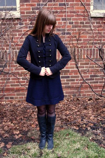 black Aqua jacket - blue Urban Outfitters dress - black Steve Madden boots - bla