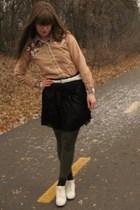 white thrifted shoes - black Forever 21 skirt - white thrifted belt - green HUE
