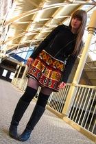 black Steve Madden boots - brown modcloth dress - black Forever 21 jacket - blac