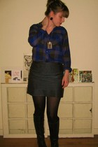 Steve Madden boots - no brand tights - Forever 21 skirt - Urban Outfitters shirt