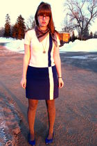 white thrifted vintage dress - gray Target tights - blue Target shoes - gold vin