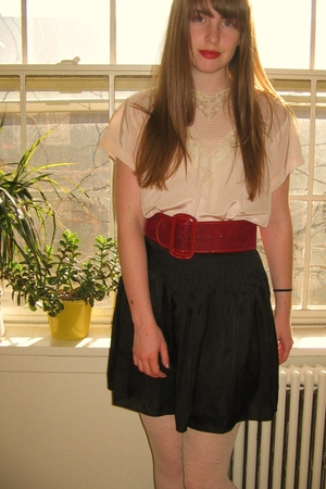 vintage blouse - thrifted belt - vintage boots - Forever 21 skirt - Urban Outfit