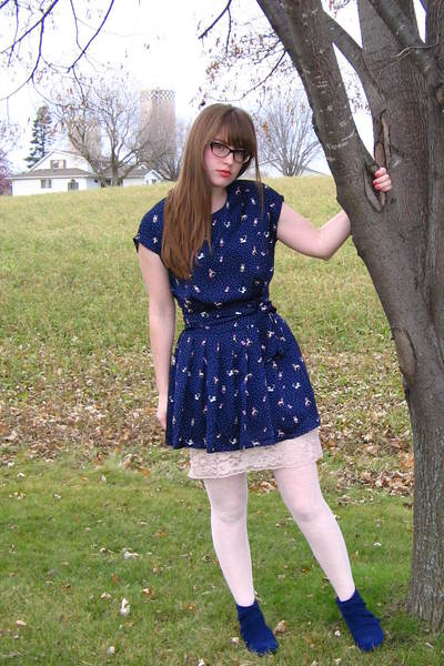 blue Forever 21 dress - blue Urban Outfitters boots