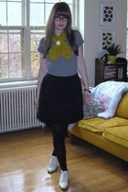 Tulle skirt - Anthropologie scarf - t-shirt - thrifted shoes - flower pin