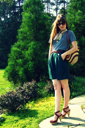 green thrifted shorts - brown seychelles shoes - white vintage scarf
