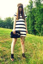 black thrifted purse - black Target socks - white H&M dress - brown vintage thri
