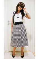 top - skirt - belt - shoes - glasses - necklace