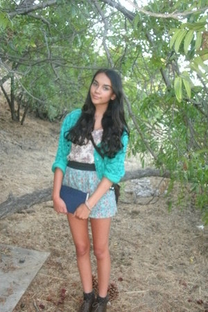 dark brown lace up boots - aquamarine flowy shorts - teal printed sweatshirt