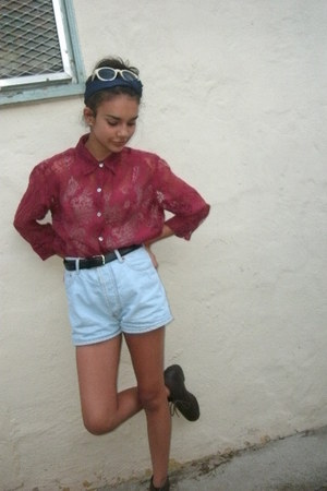 light blue denim shorts - cream cat eye wafers sunglasses - brick red button up