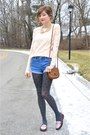 Gray-forever-21-tights-maroon-modcloth-loafers-peach-forever-21-top