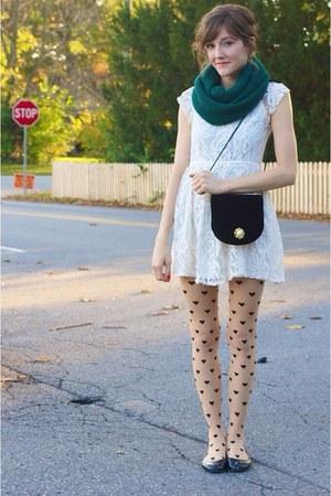 dark green H&M scarf - white dress - neutral Forever 21 tights