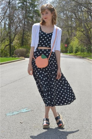 light orange peach crossbody asos bag - black asos dress