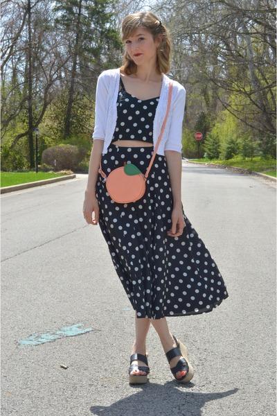 light orange peach crossbody asos bag - black asos dress