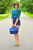 blue purse - bronze shoes - green Forever 21 shirt - blue shorts