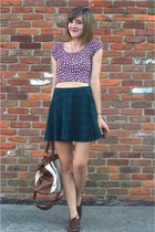 purple floral crop top Forever 21 top - brown thrift shoes