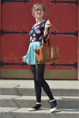 aquamarine Forever 21 skirt - brown Forever 21 bag - black H&M top