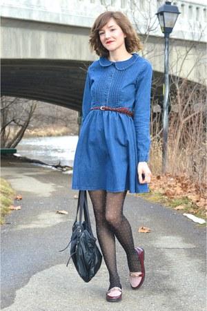 blue ModClothcom dress - pink ModClothcom loafers - crimson Forever 21 belt