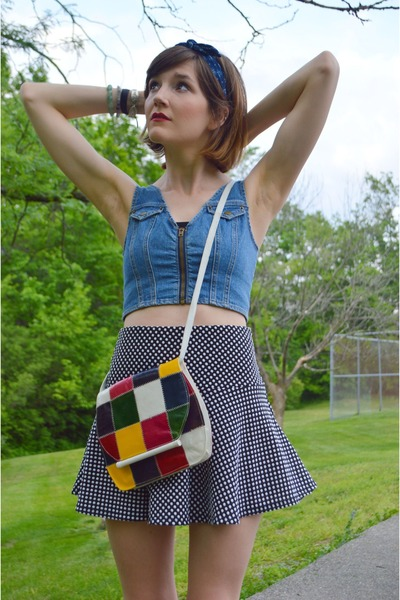 white vintage purse - black Forever 21 skirt - blue hair accessory