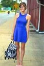 Blue-thrift-dress-black-charlotte-russe-bag-light-pink-modcloth-flats