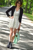 aquamarine modcloth bag - white Forever 21 dress - black crop blazer H&M blazer