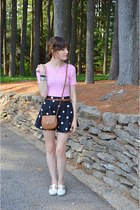 black skirt - slide on flats shoes - bronze small side bag Forever 21 purse