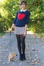 Black-ankle-h-m-boots-light-pink-dress-blue-heart-forever-21-sweater
