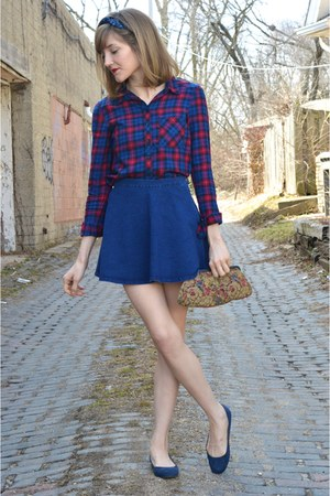 red plaid crop top H&M shirt - blue flared denim Forever 21 skirt