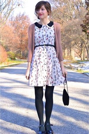 black modcloth shoes - off white modcloth dress - black vintage bag