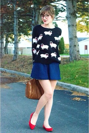 black modcloth sweater - bronze bag - blue Forever 21 skirt