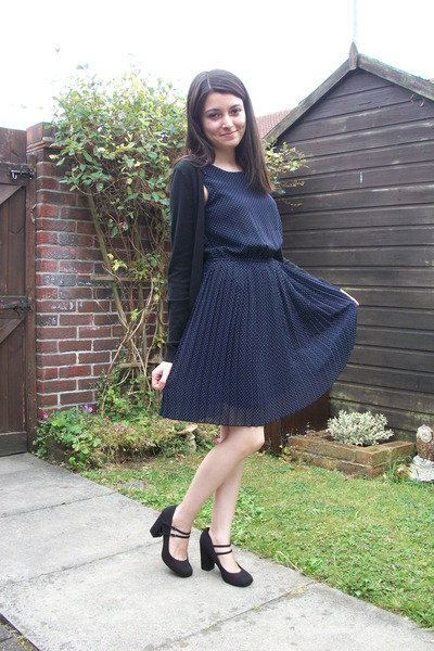 Navy Polka Dot Primark Dresses Black Block Heel New Look Shoes